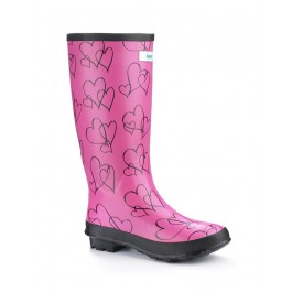 Miss Lovely Pink Hearts (wide calf)