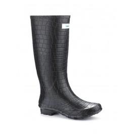 Miss Snappy Black Croc Wellies (wide calf)
