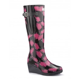 WedgeWelly SAVVY Flex Black with Pink Splash