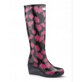 WedgeWelly Wedge Wellies Black with Pink Splash (standard fit)