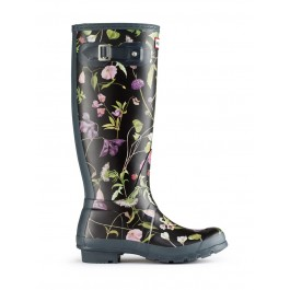 Hunter Boot Original Wellies Tall RHS Floral Black Mix !