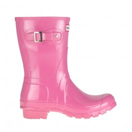 Hunter Gloss Short Wellies Fuchsia