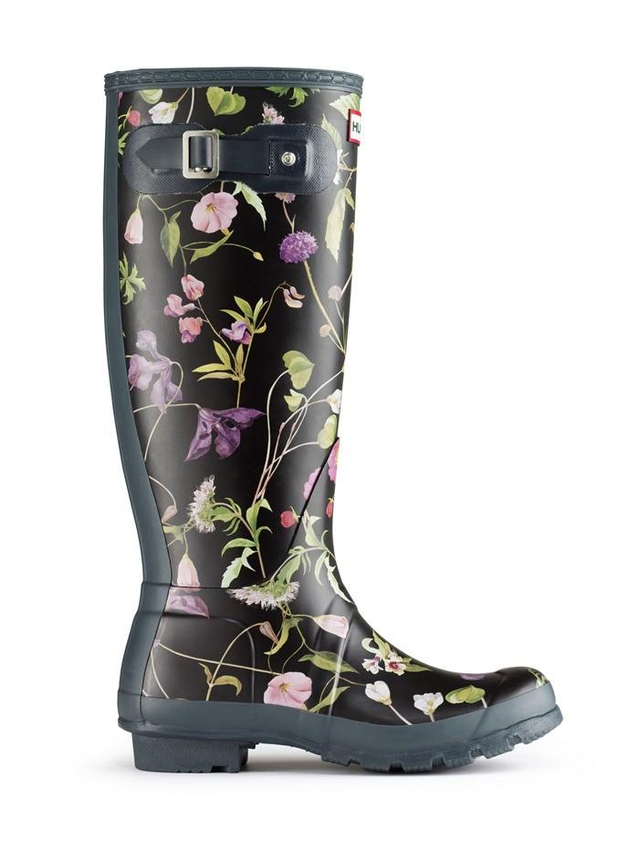 Hunter Boot Original Wellies Tall Rhs Floral Black Mix